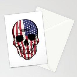 Patriotic Skull - United States Flag - USA Patriot Stationery Cards