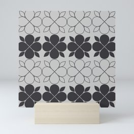 Black and Grey Flower Tile Mini Art Print