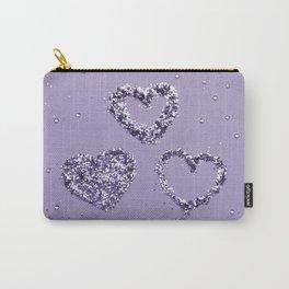 Ultra Violet LOVE Glitter Hearts #1 #shiny #decor #art #society6 Carry-All Pouch