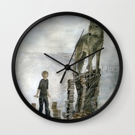 Boy With A Wolf  Wall Clock