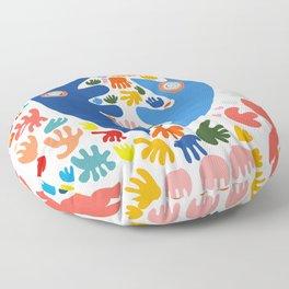 Two Blue Faces Abstract Joyful Pattern Art Decoration Emmanuel Signorino Floor Pillow