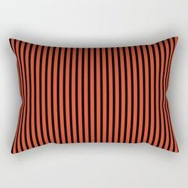 Tangerine Tango and Black Stripes Rectangular Pillow
