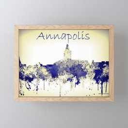 Annapolis city skyline blue/yellow Framed Mini Art Print