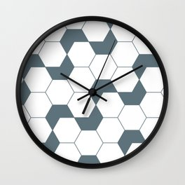 Geometric Pattern #46 (gray hexagons) Wall Clock