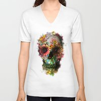 instagram V-neck T-shirts featuring SKULL 2 by Ali GULEC