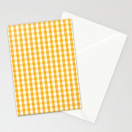 Pale Pumpkin Orange and White Halloween Gingham Check Stationery Cards