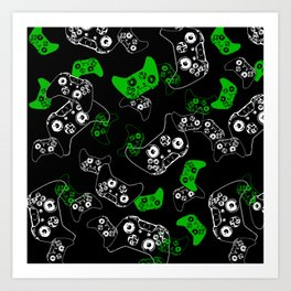 Video Game Black & Green Art Print