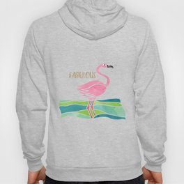 Sparkly Fabulous Watercolor Pink Flamingo Hoody