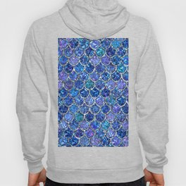 Sparkly Shades of Blue & Silver Glitter Mermaid Scales Hoody
