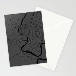 Bangkok Thailand Minimal Street Map - Gray and Black Stationery Cards