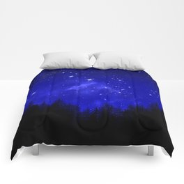 Blue Galaxy Forest Night Sky Comforters