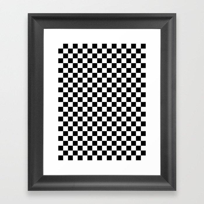 White and Black Checkerboard Gerahmter Kunstdruck