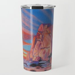 Glowing Joshua Tree sunset as the climbing day draws to a close Travel Mug