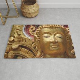 Buddha Head Illustration Design gold Rug