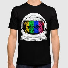 Astronaut Pug X-LARGE Black Mens Fitted Tee