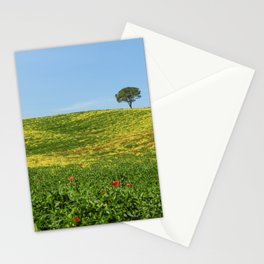 Lonely tree on a flowerd field. Stationery Cards