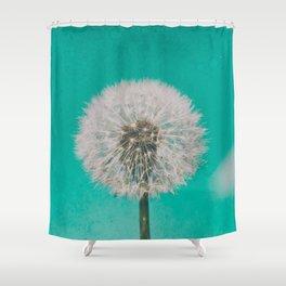 Green Blue Dandelion Shower Curtain