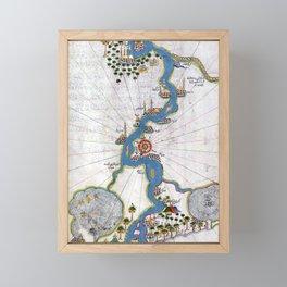 Piri Reis Map of the River Nile From its Estuary South Framed Mini Art Print