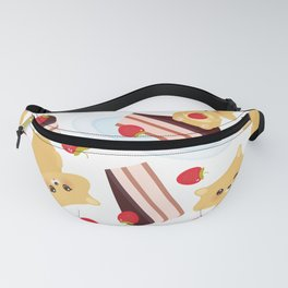 attern cute kawaii hamster with fresh Strawberry, cake decorated pink cream and chocolate Fanny Pack