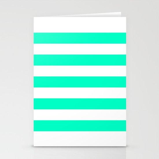 Mint White Stripes Stationery Cards