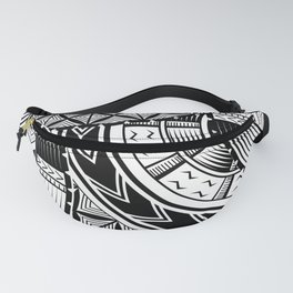 UrbanNesian Black and White Tatau Fanny Pack