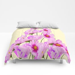 PINK COSMOS GARDEN FLOWERS ON CREAM COLOR Comforters