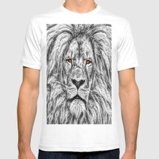 Black Lion MEDIUM White Mens Fitted Tee
