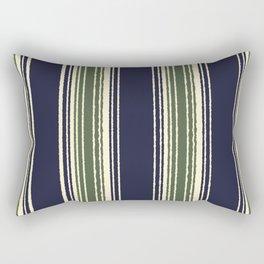 Navy blue and sage green stripes Rectangular Pillow