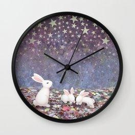 bunnies under the stars Wall Clock