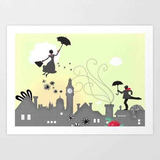 London - Mary Poppins takes off Art Print