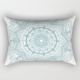 Teal Flower Mandala Rectangular Pillow