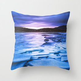 Lake Effect // Frozen Ice Water Sunset Mountain Landscape Photography Pink Purple Blue Clouds Throw Pillow