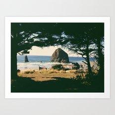 Haystack Rock Through Trees Art Print