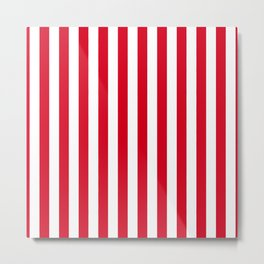 Red and White Small Even Stripes Metal Print