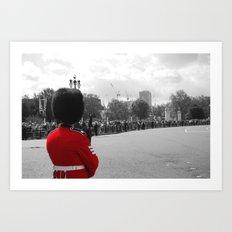 A Guard Watches the Crowd, b&w Art Print