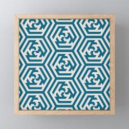 Moroccan Teal Ornate Geometric Pattern Framed Mini Art Print