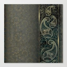 Green Paisley Paper Pattern Canvas Print
