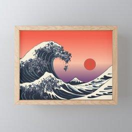 The Great Wave of Black Pug Framed Mini Art Print
