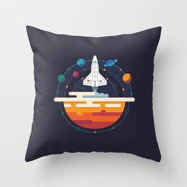 Space Shuttle & Solar System Throw Pillow
