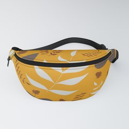 Autumn leaves and acorns - ochre and gray Fanny Pack