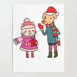 Christmas Cat And Dog Poster