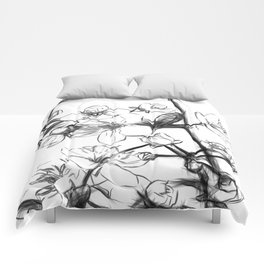 Cherry Blossoms Minimal Drawing Comforters