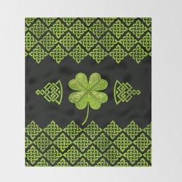 Irish Shamrock Four-leaf clover with celtic decor Throw Blanket