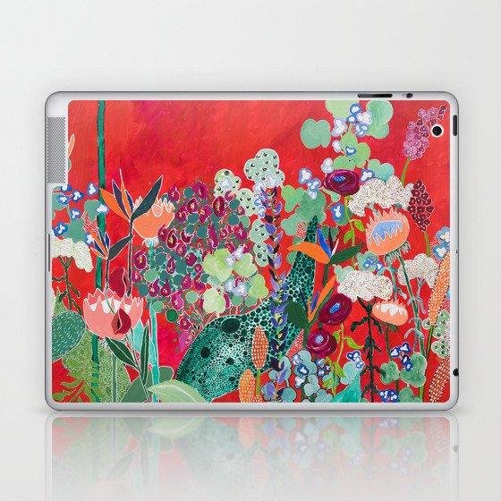 Red floral Jungle Garden Botanical featuring Proteas, Reeds, Eucalyptus, Ferns and Birds of Paradise Laptop & iPad Skin
