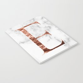 Monogram rose gold marble E Notebook
