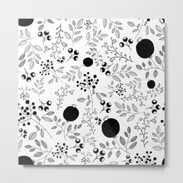 Black and White Seamless Flower Pattern Metal Print