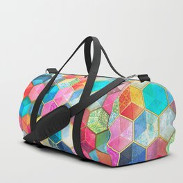 Crystal Bohemian Honeycomb Cubes - colorful hexagon pattern Duffle Bag