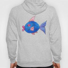 Blue Kissy Fish Cartoon Hoody