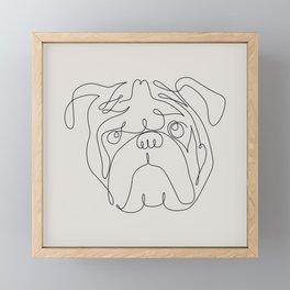 One Line English Bulldog Framed Mini Art Print