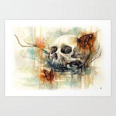 watercolor skull Art Print